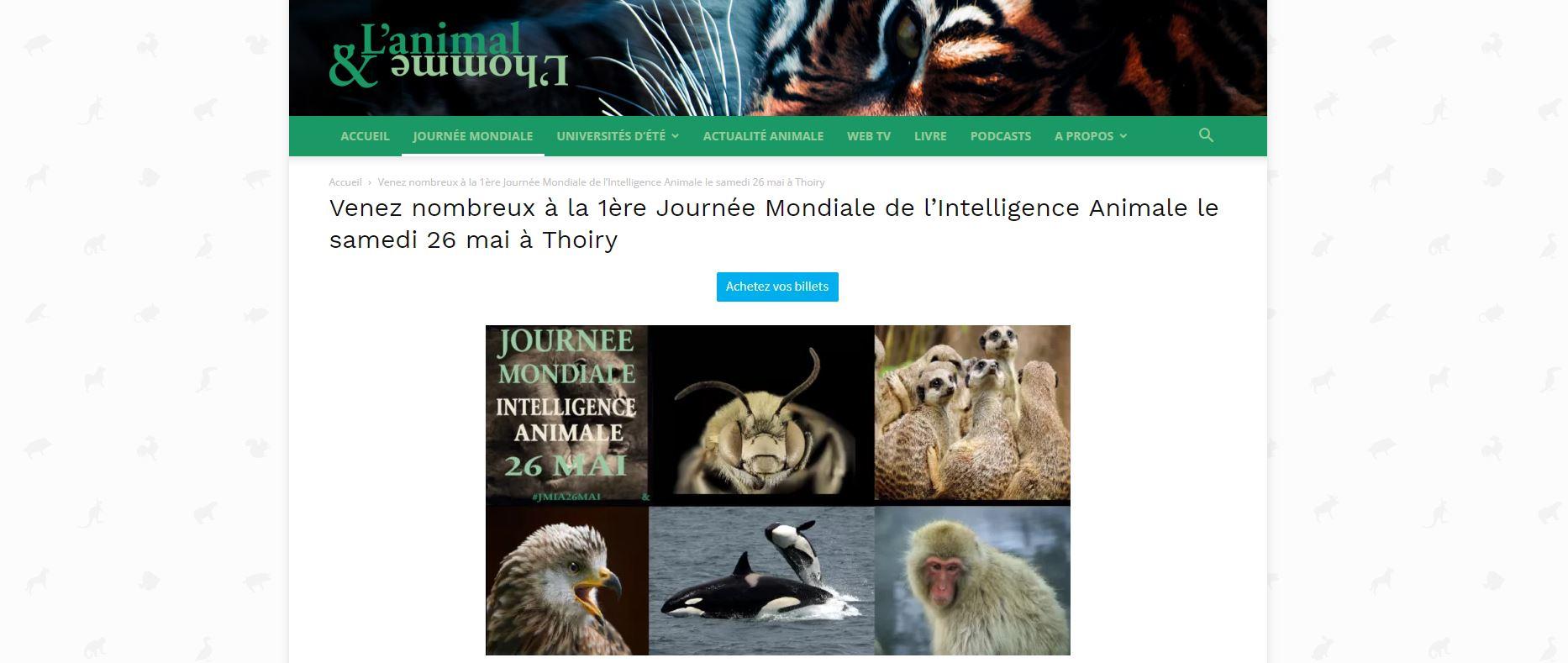 SAMEDI 26 MAI : 1ère Journée Mondiale de l'Intelligence Animale à Thoiry